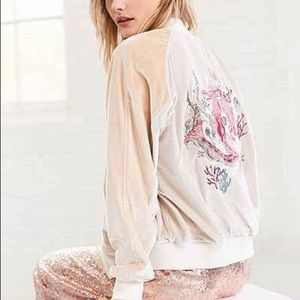 UO On Tour Velvet Varsity Bomber Jacket Mermaid